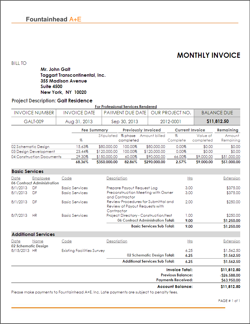 sample of an invoice