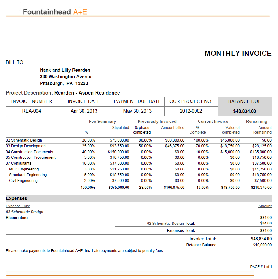 Download architects invoice template for Design consultation fee